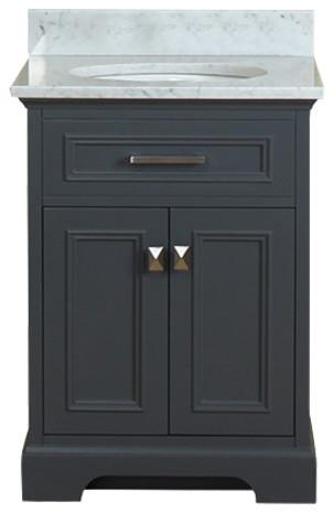 yorkshire 25 single bathroom vanity gray with carrera marble top