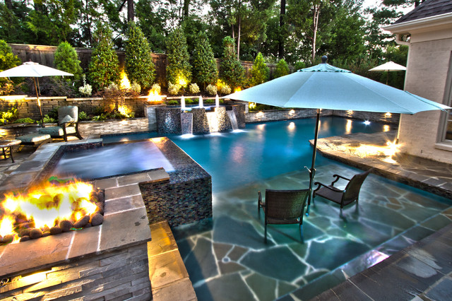Collierville Modern Geometric Pool, Spa, & Outdoor Living ... on Outdoor Living Spa id=75621