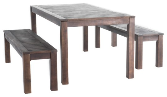 Marin Dark Brown Acacia Wood Outdoor Picnic Set   Craftsman     Marin Dark Brown Acacia Wood Outdoor Picnic Set