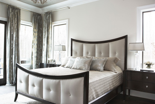 Gorgeous modern neutral bedroom -- love the paint color!
