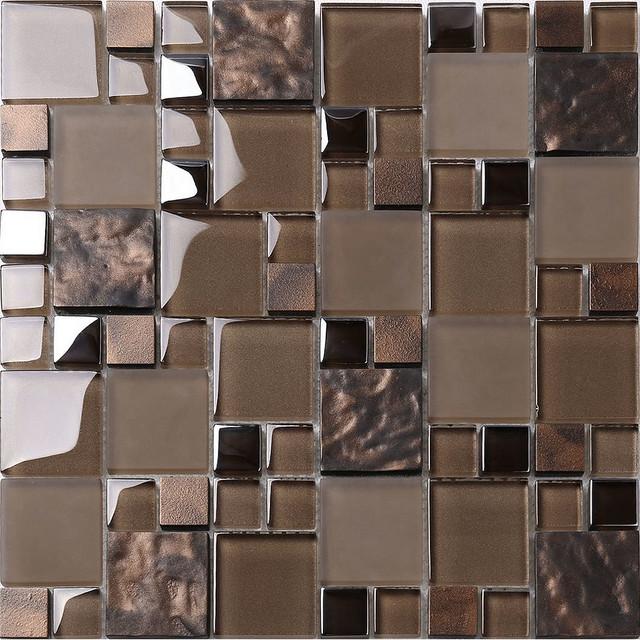 brown glass mosaic kitchen backsplash tile 12 x12