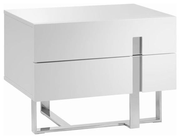 collins high gloss white lacquer nightstand end table
