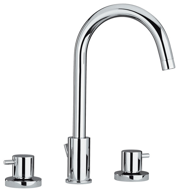 luxe widespread lavatory faucet with tall gooseneck swivel spout