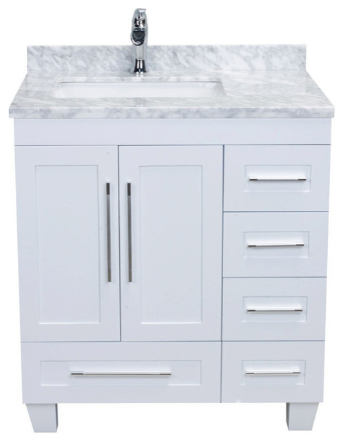 eviva loon 30 white transitional bathroom vanity with white carrara marble