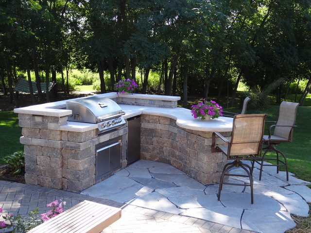 Custom Outdoor Kitchen - Contemporary - Patio - Milwaukee ... on Patio Grilling Area  id=35941