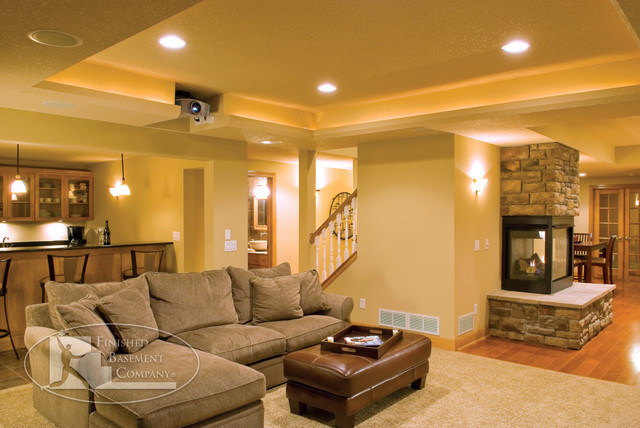 Basement Great Room Traditional Family Room