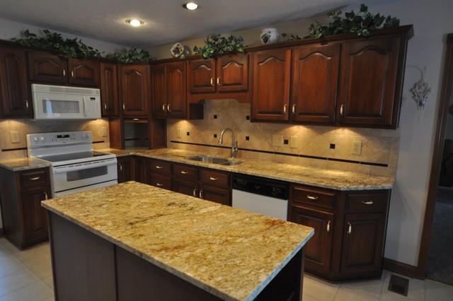 Granite Countertops and Tile Backsplash Ideas - Eclectic ... on Kitchen Backsplash Ideas For Black Granite Countertops  id=79558