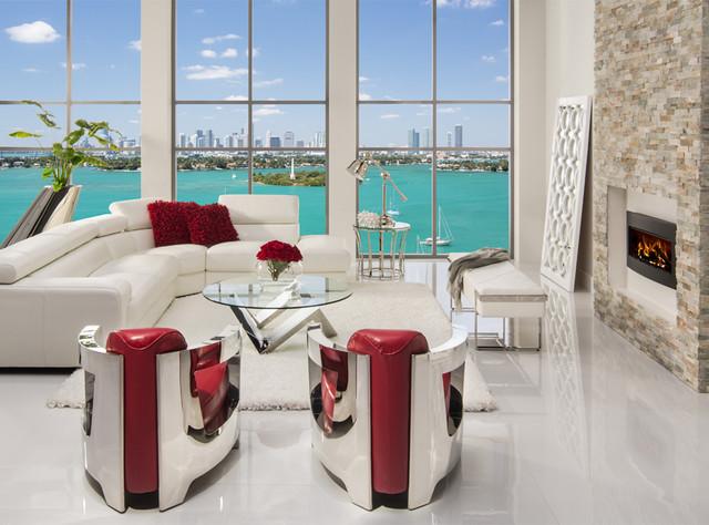 Miami beach is on ever. Grace Sofa meets Aviator Chairs - Modern - Living Room ...