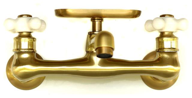 natural brass wall mount short swivel spout utility bridge faucet w soap dish