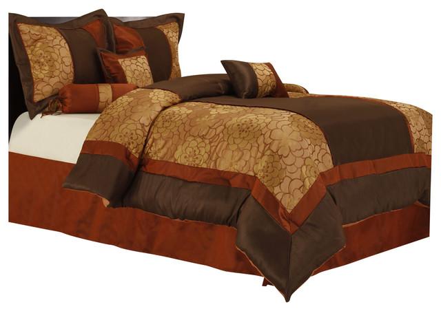 sibyl 7 piece comforter set red brown full
