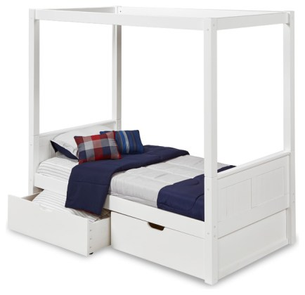 Camaflexi Twin Canopy Bed With Drawers  Panel Headboard  White     Camaflexi Twin Canopy Bed With Drawers  Panel Headboard  White Finish