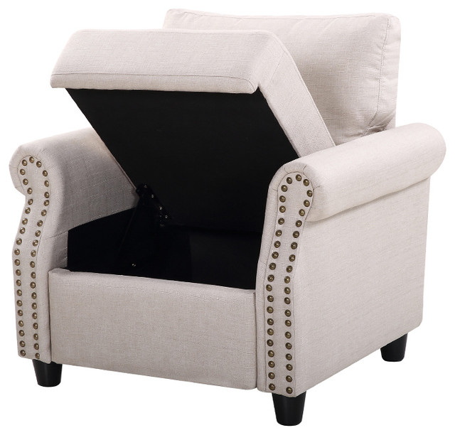 Classic Living Room Linen Armchair With Nailhead Trim And