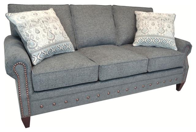 chelsea grey fabric sofa with nailhead trim
