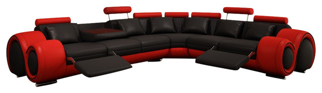 4087 red and black bonded leather sectional sofa with built in footrests
