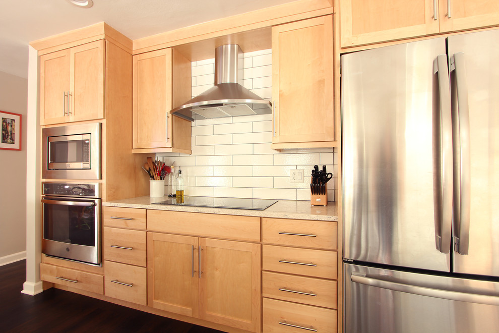 Natural Maple Cabinets in Open Kitchen with Quartz ... on Maple Cabinets With White Countertops  id=38383