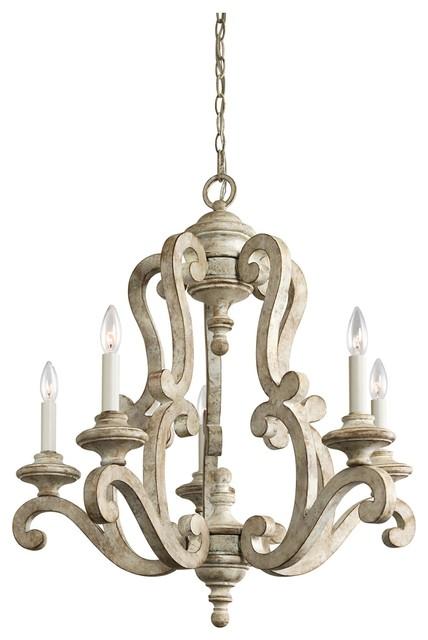 5 Light Standard Bulb Chandelier Distressed Antique White Mediterranean Chandeliers
