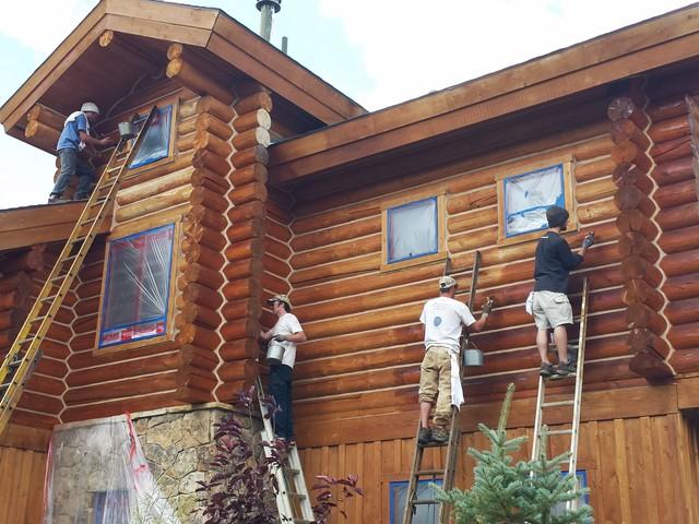 Log Home Maintenance Staining Log Home
