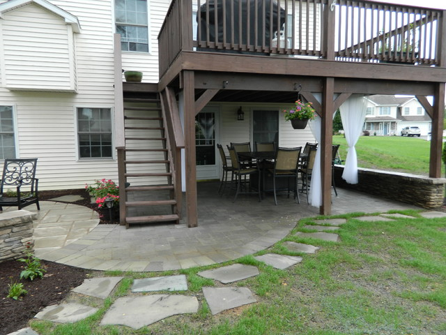 Patio under deck with separate firepit patio ... on Under Deck Patio Ideas id=25135