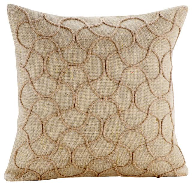 beige decorative pillow covers 18 x18 cotton jute heritage