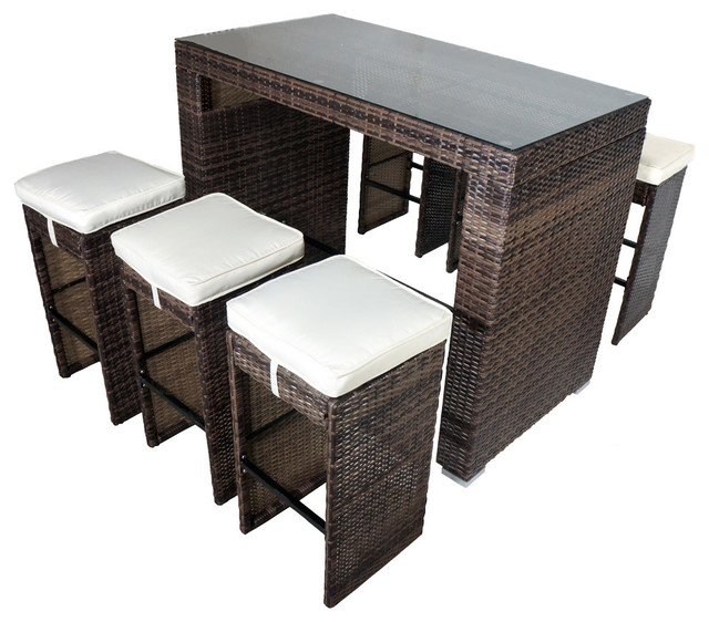 roseland 7 piece glass bar height dining set shades of brown