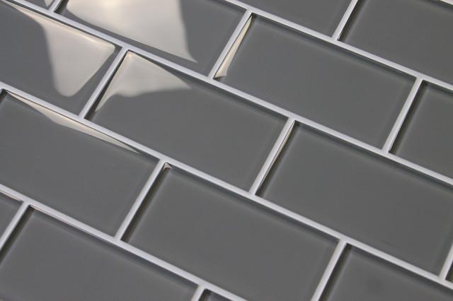 pebble gray 3x6 glass subway tile sample
