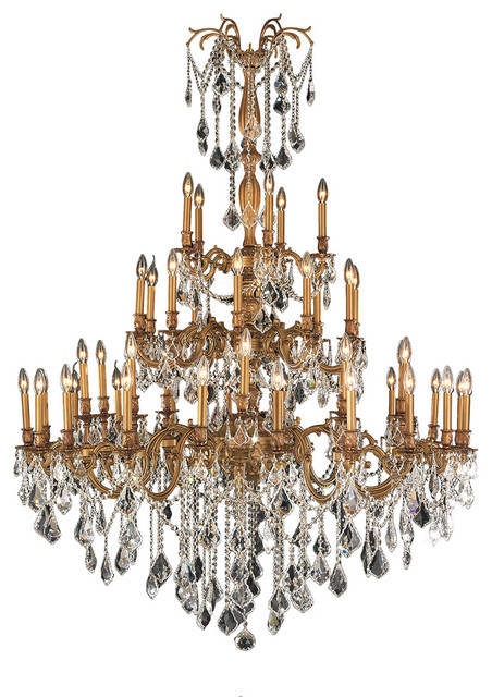 Antique 45 Light French Gold Crystal 4 Tier Chandelier Clear Victorian Chandeliers