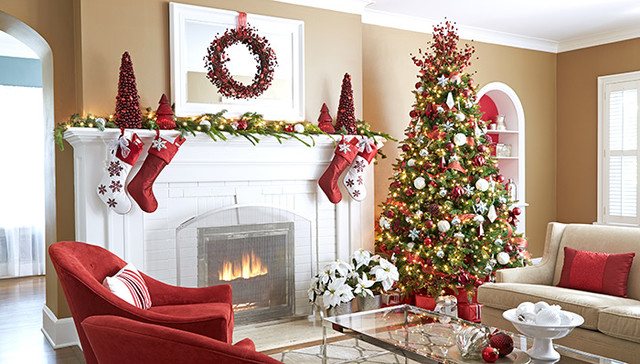 Living Room with Christmas Sparkle transitional-living-room