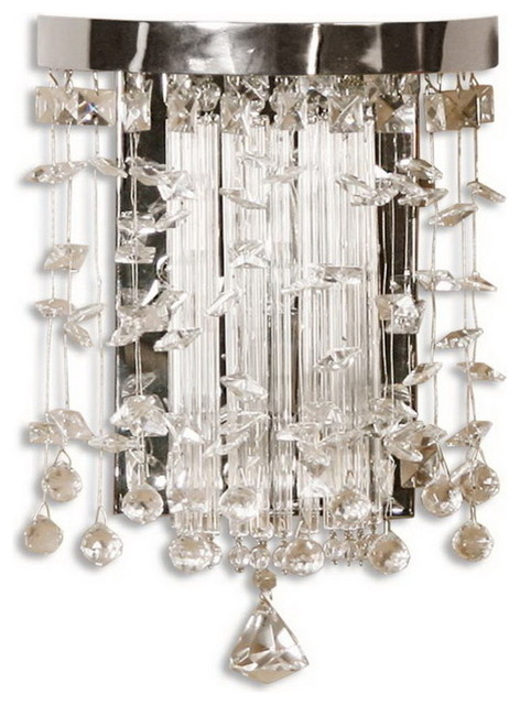 Uttermost 22445 Fascination Crystal Wall Sconce ... on Crystal Bathroom Sconces id=28726