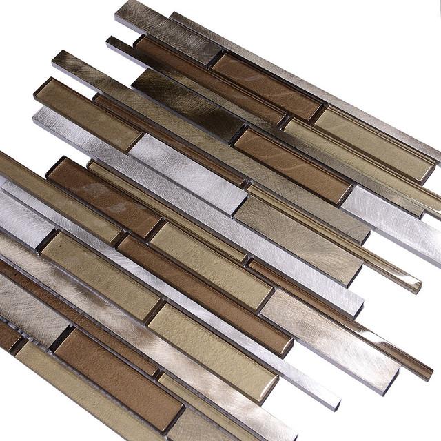 metallic brown glass modern subway kitchen backsplash tile 12 x12