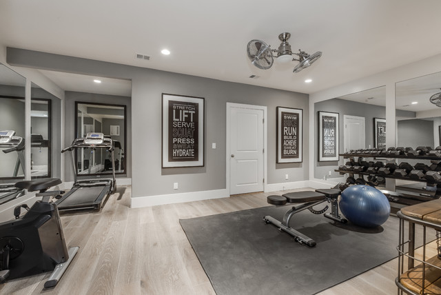Aspen French House Plan traditional-home-gym