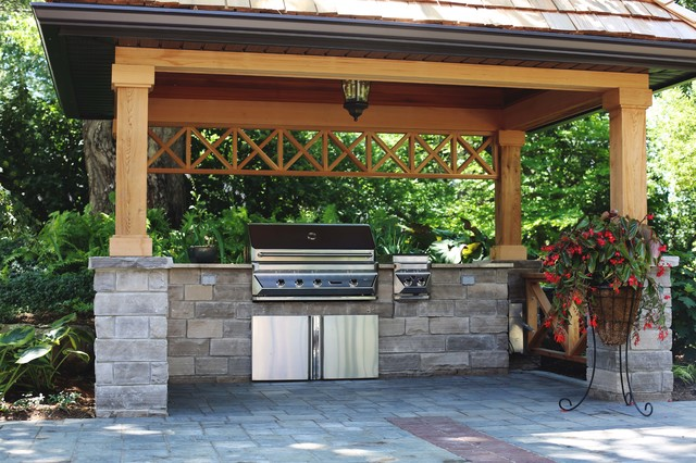 Covered BBQ Area with Natural Stone Counters - Traditional ... on Patio Grilling Area  id=12539
