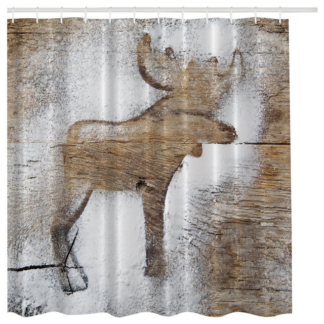MoreThanCurtains Rustic Winter Moose Holiday Christmas Fabric Shower Curtain Amp Reviews Houzz