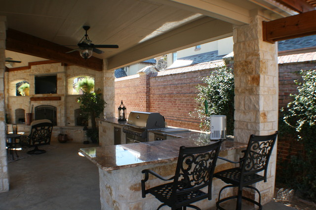 Fort Worth Covered Patio with Pergola Outdoor Kitchen and ... on Covered Outdoor Kitchen With Fireplace id=68896
