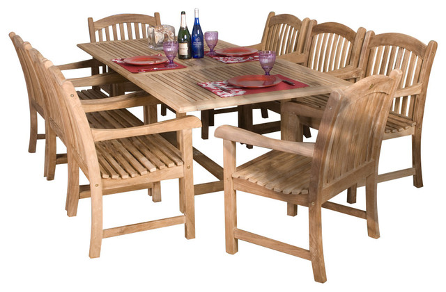 Newcastle 9-Piece Teak Extendable Rectangular Patio Dining