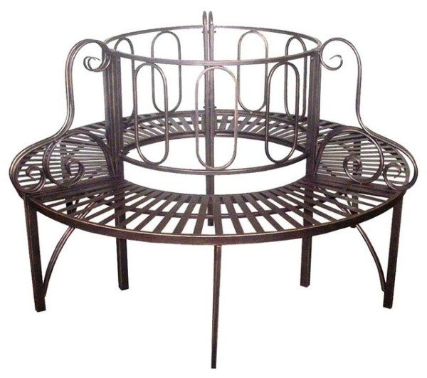 steel roundabout garden bench Roundabout Architectural Steel Garden Bench - Traditional