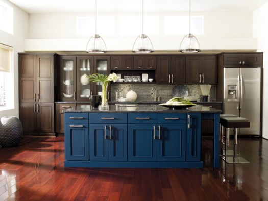 Omega Cabinetry Dark Wood Cabinets With Bold Blue Island Modern Kitchen