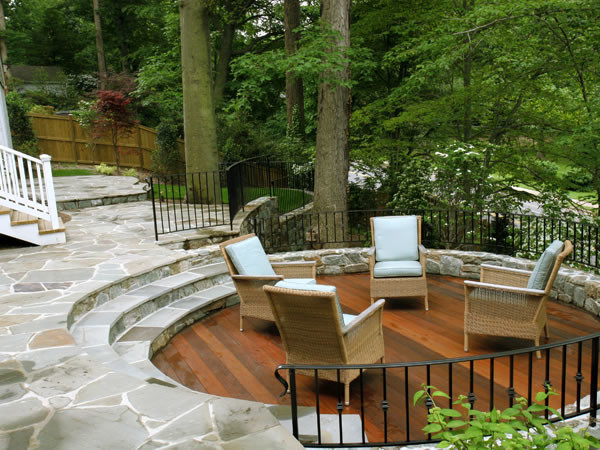 Sunken Wood Patio and Flagstone Patio on Wooded Slope ... on Patio On A Slope Ideas id=17704