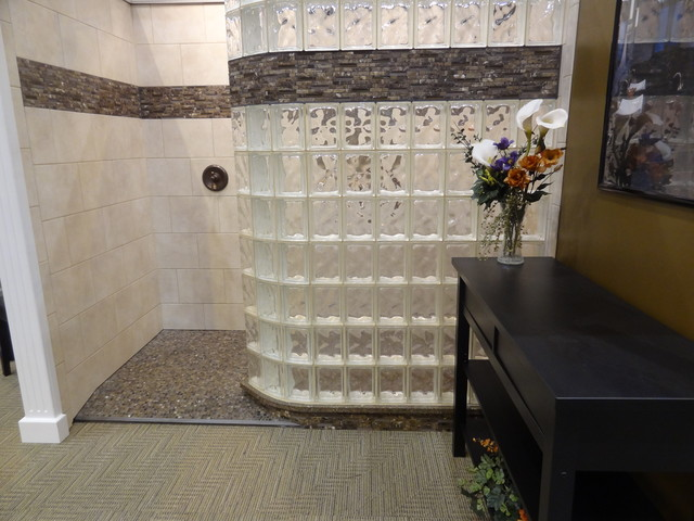 Curved Glass Block Shower Wall With Ready For Tile Base Cleveland Ohio Traditional Bathroom