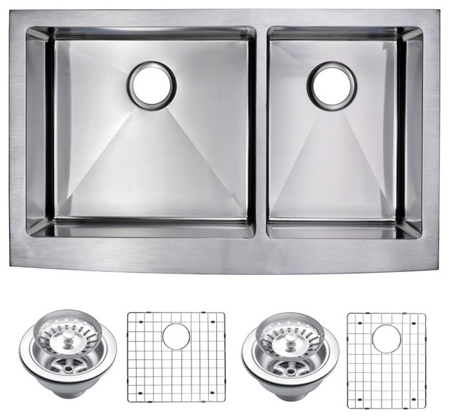 Corner Radius 6040 Apron Front Sink With Drain Strainers Amp Bottom Grids Contemporary