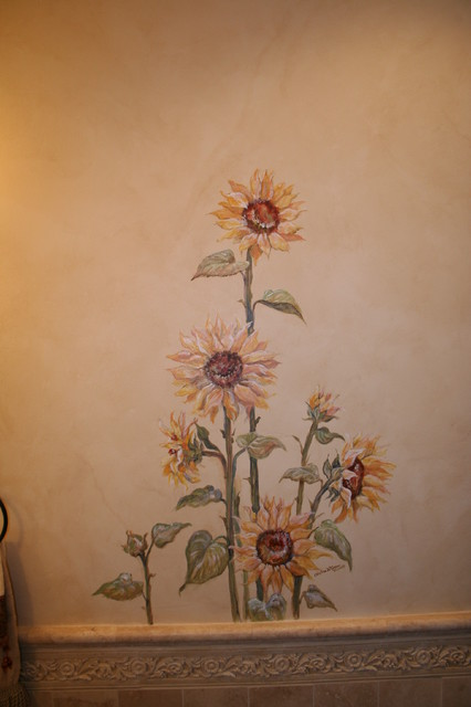 Tuscan Powder Room With Sunflower Mural Mediterranean