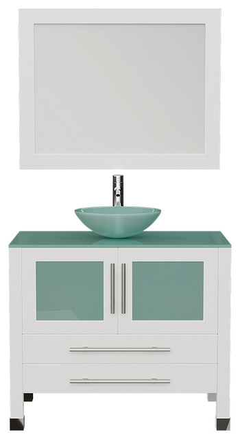 36 white solid wood glass single vessel sink vanity chrome faucet