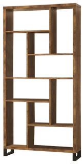 Coaster Bookcase, Antique Nutmeg/Black
