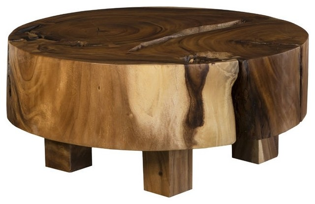 38 brown smooth gloss polished round acacia wood coffee table variegated solid