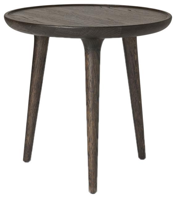 danish mid century modern side table dark wood small