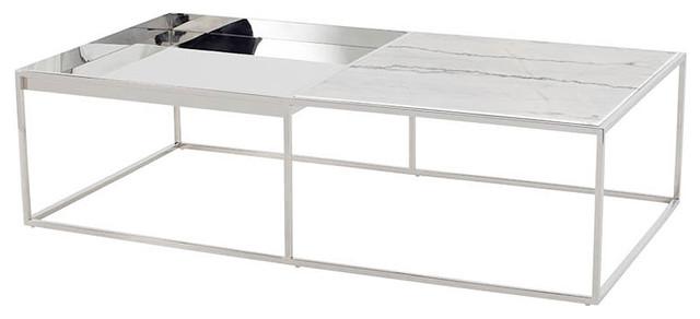 corbett rectangle coffee table chrome coffee table modern white marble top