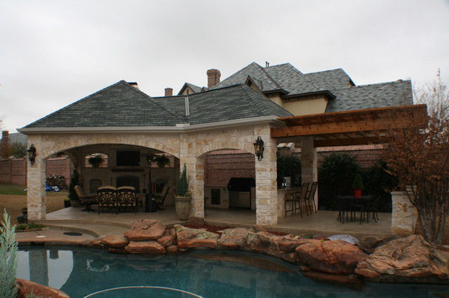 Fort Worth Covered Patio with Pergola Outdoor Kitchen and ... on Covered Outdoor Kitchen With Fireplace id=75912