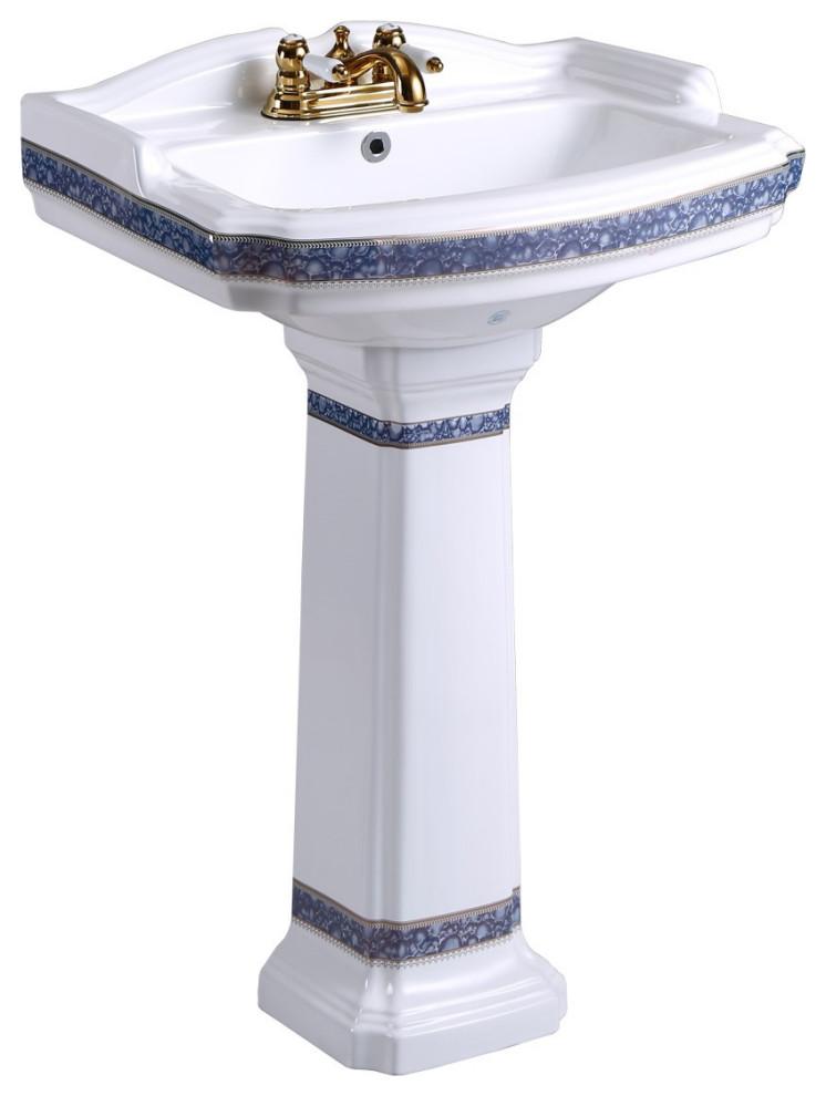 India Reserve Bathroom Pedestal Sink White Porcelain Blue ...