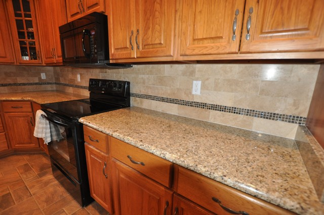 Granite Countertops and Tile Backsplash Ideas - Eclectic ... on Kitchen Backsplash Ideas With Black Granite Countertops  id=36468