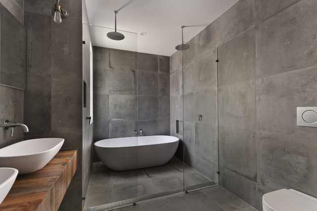 Custom Concrete Tile Shower Encinitas CA Industrial