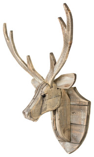GwG Outlet Recycled Wooden Deer Head Wall Hanging